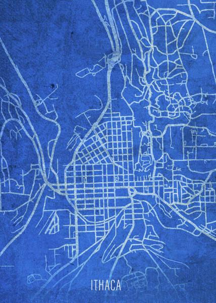 Wall Art - Mixed Media - Ithaca New York City Street Map Blueprints by Design Turnpike