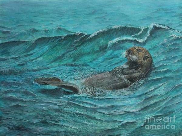 Painting - It's My Otter Day Off.....sea Otter by Bob Williams
