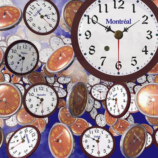 Mogadishu Wall Art - Photograph - It's Raining Clocks - Montreal by Nicola Nobile