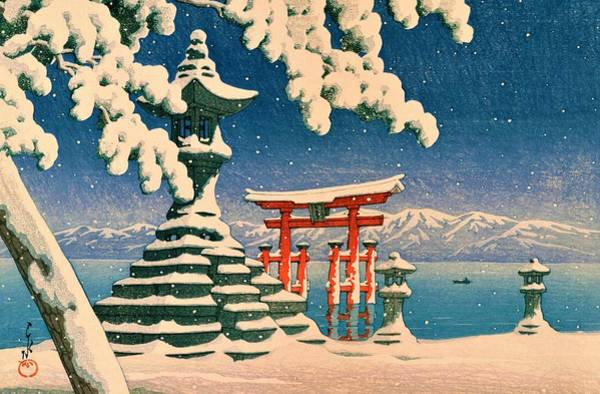 Snowscape Painting - Itsukushia Temple - Top Quality Image Edition by Kawase Hasui