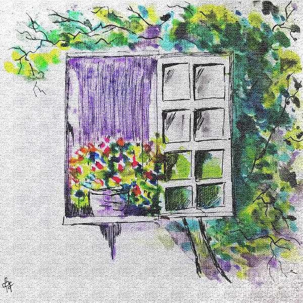 Wall Art - Painting - Ivy Window by Diane E Berry