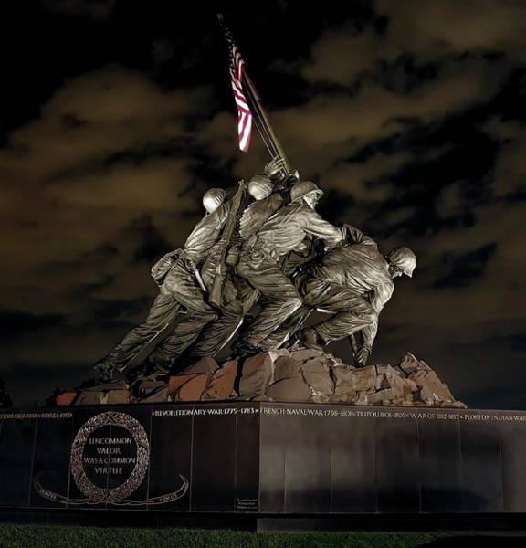 Wall Art - Photograph - Iwo Jima Memorial - Uncommon Valor A Common Virtue by Daniel Hagerman