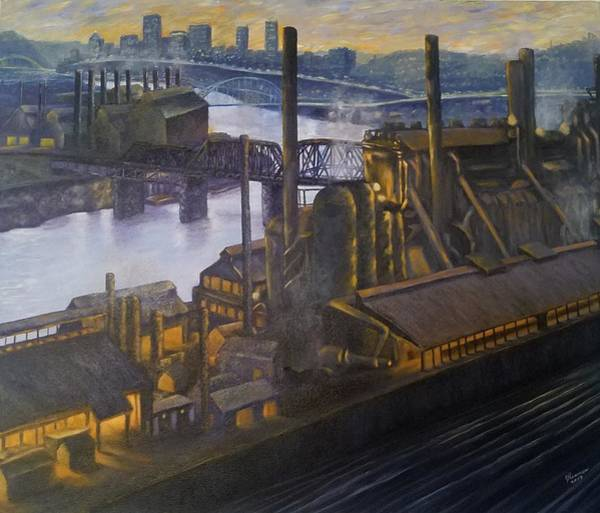 Wall Art - Painting - J And L Steel With The Hot Metal Bridge Late 1970s-early1980s by Joann Renner