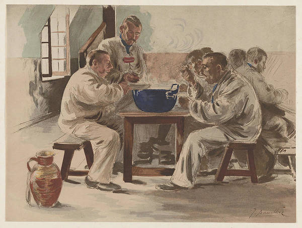 Painting - J. Baseilhac French, Active 19th Century. Soup In The Barracks La Soupe A La Chambree, Ca. 1898. by Celestial Images