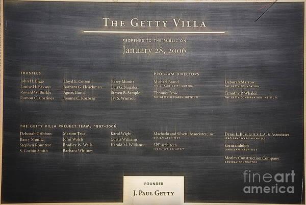Getty Villa Photograph - J. Paul Getty Plaque Villa  by Chuck Kuhn