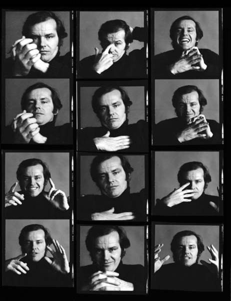 Photograph - Jack Nicholson Contact Sheet by Jack Robinson