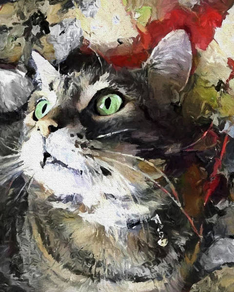 Digital Art - Jack The Green Eyed Manx Cat by Peggy Collins