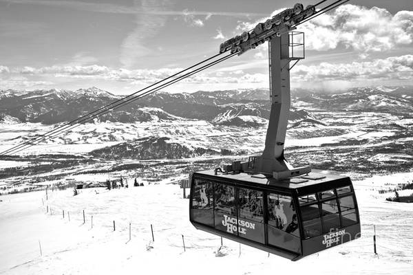 Photograph - Jackson Hole Aerial Tram Black And White by Adam Jewell