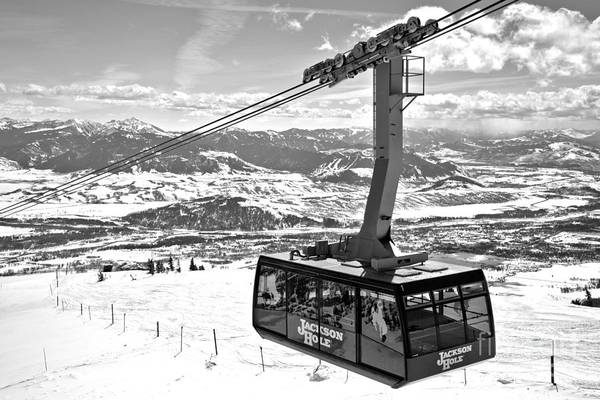 Photograph - Jackson Hole Big Red Tram Black And White by Adam Jewell