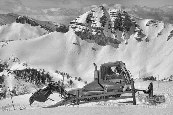 Photograph - Jackson Hole Snow Cat Black And White by Adam Jewell