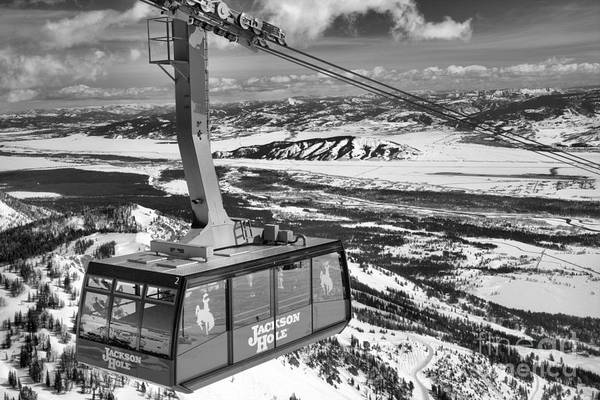 Photograph - Jackson Hole Tram Black And White by Adam Jewell