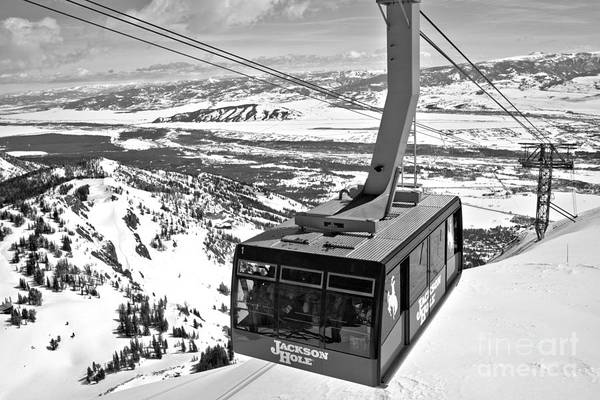 Photograph - Jackson Hole Tram Closeup Black And White by Adam Jewell