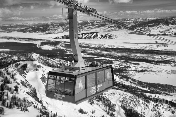 Photograph - Jackson Hole Tram In The Skies Black And White by Adam Jewell