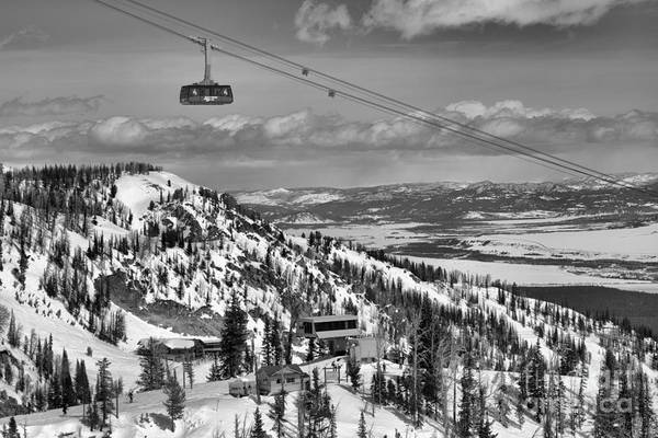 Photograph - Jackson Hole Tram In The Teons Black And White by Adam Jewell