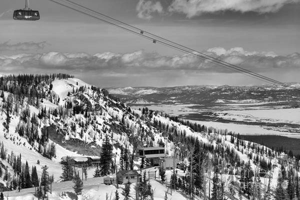 Photograph - Jackson Hole Tram Landscape Black And White by Adam Jewell
