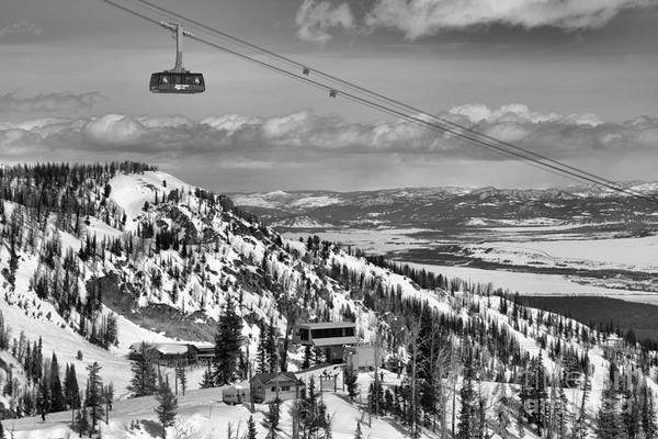 Photograph - Jackson Hole Tram Paradise Black And White by Adam Jewell