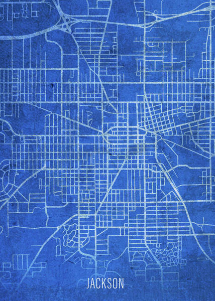 Wall Art - Mixed Media - Jackson Michigan City Street Map Blueprints by Design Turnpike