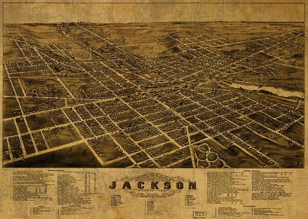 Wall Art - Mixed Media - Jackson Michigan Vintage City Street Map 1881 by Design Turnpike