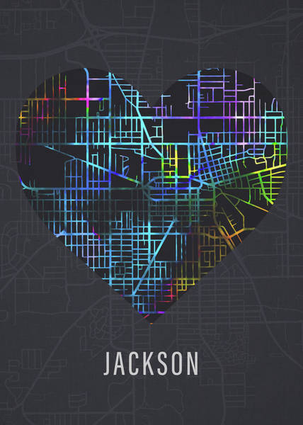 Wall Art - Mixed Media - Jackson Mississippi City Heart Street Map Love Dark Mode by Design Turnpike