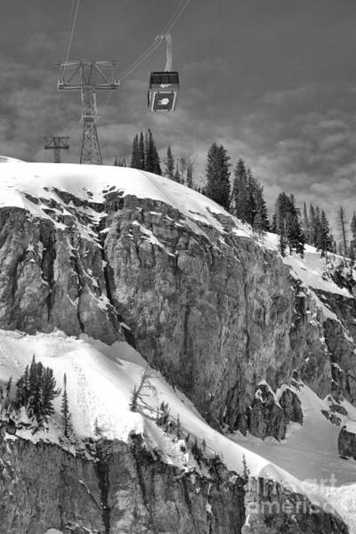 Photograph - Jackson Tram Over The Cliff Black And White by Adam Jewell