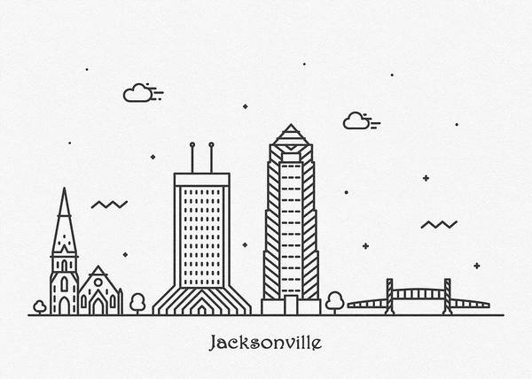Wall Art - Drawing - Jacksonville Cityscape Travel Poster by Inspirowl Design