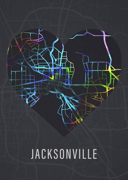 Wall Art - Mixed Media - Jacksonville Florida City Heart Street Map Love Dark Mode by Design Turnpike
