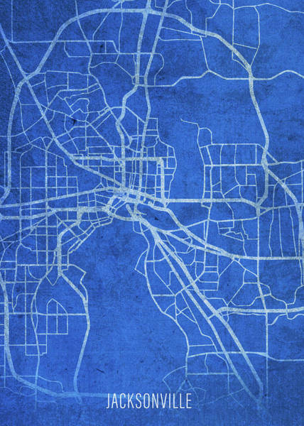 Wall Art - Mixed Media - Jacksonville Florida City Street Map Blueprints by Design Turnpike