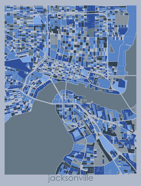 Wall Art - Digital Art - Jacksonville Map Retro 5 by Bekim M