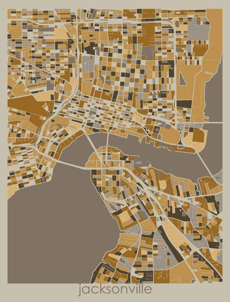 Wall Art - Digital Art - Jacksonville Map Retro by Bekim M