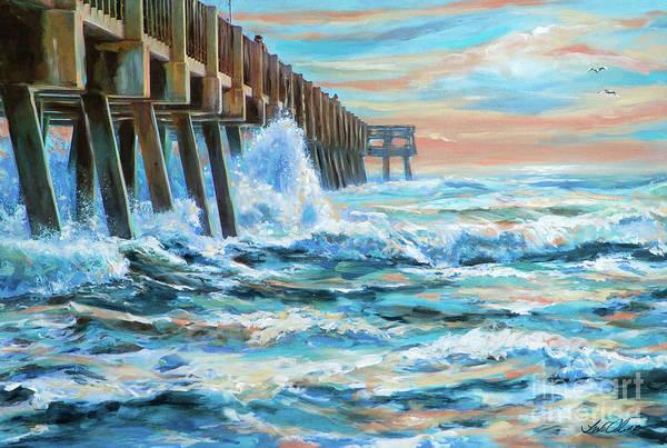 Painting - Jacksonville Pier Sunrise by Linda Olsen