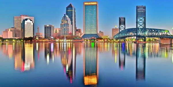 Municipality Photograph - Jacksonville Reflecting by Frozen in Time Fine Art Photography