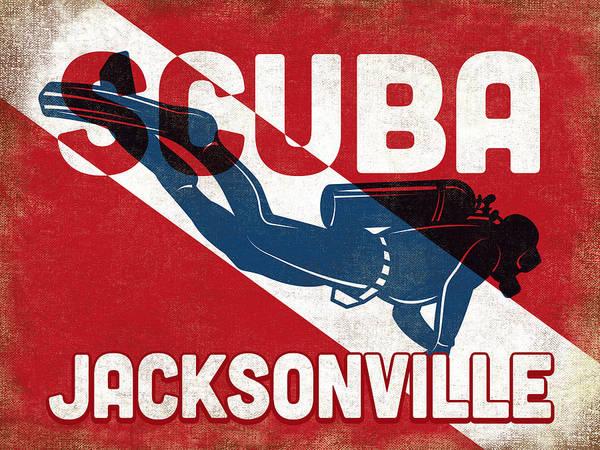 Scuba Digital Art - Jacksonville Scuba Diver - Blue Retro by Flo Karp