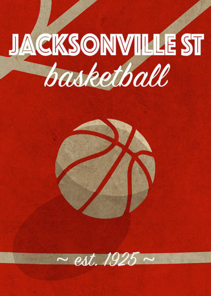Wall Art - Mixed Media - Jacksonville St University Retro College Basketball Team Poster by Design Turnpike