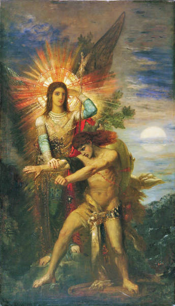 Wall Art - Painting - Jacob And The Angel - Digital Remastered Edition by Gustave Moreau