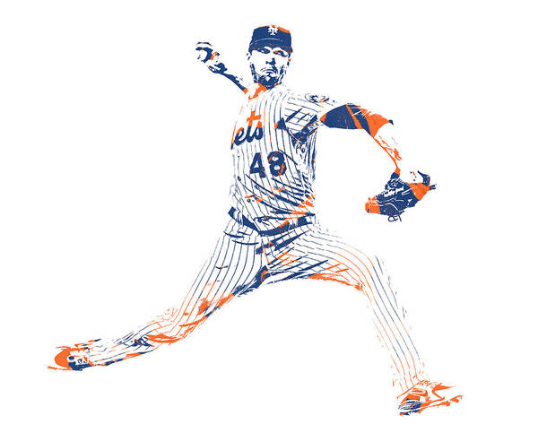 Wall Art - Mixed Media - Jacob Degrom New York Mets Pixel Art 1 by Joe Hamilton
