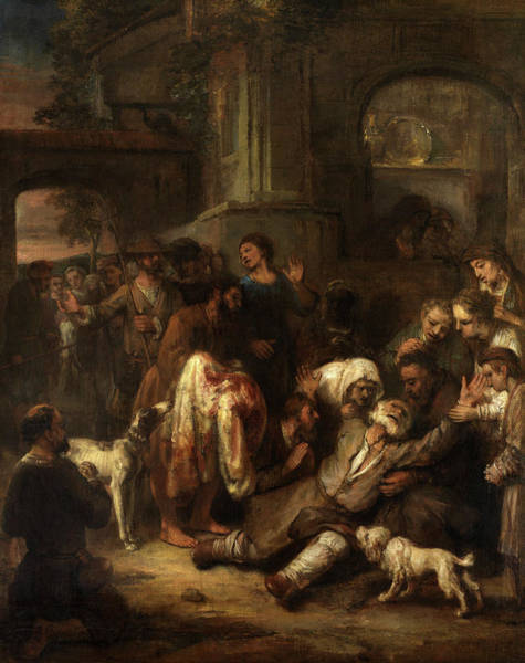 Wall Art - Painting - Jacob Shown Joseph's Bloody Coat by Circle of Rembrandt van Rijn