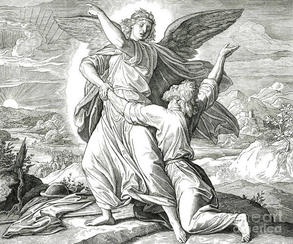 Wall Art - Drawing - Jacob Wrestles The Angel Of The Lord by Julius Schnorr von Carolsfeld