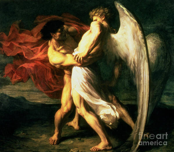 Wall Art - Painting - Jacob Wrestling With The Angel, 1865  by Alexandre Louis Leloir