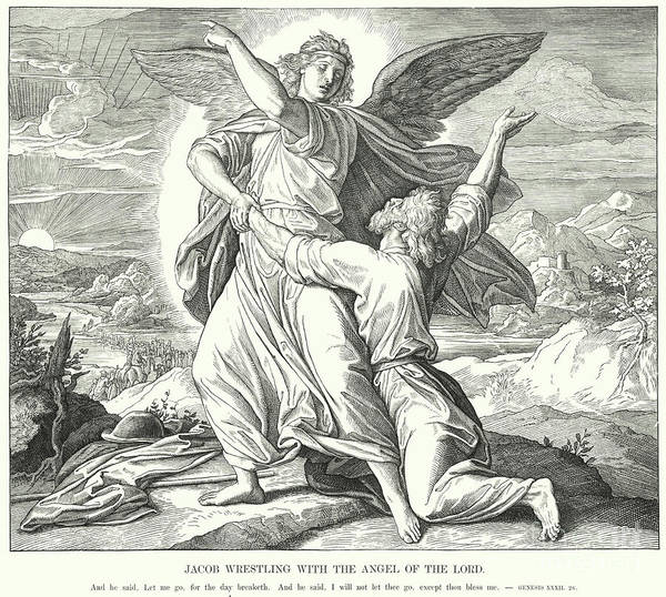 Wall Art - Drawing - Jacob Wrestling With The Angel Of The Lord  by Julius Schnorr von Carolsfeld