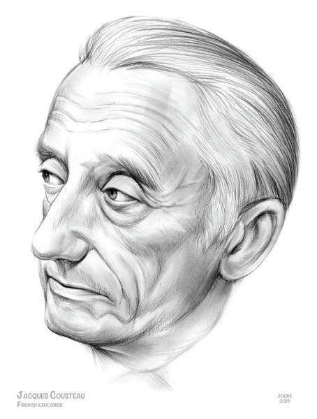 Naval Wall Art - Drawing - Jacques-yves Cousteau by Greg Joens