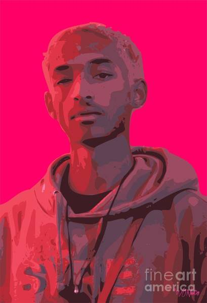 Digital Art - Jaden Smith In Icon Red by Walter Neal