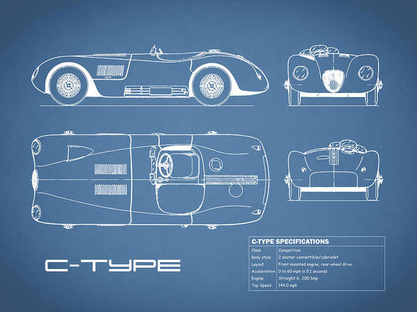 C Photograph - Jaguar C-type Blueprint by Mark Rogan