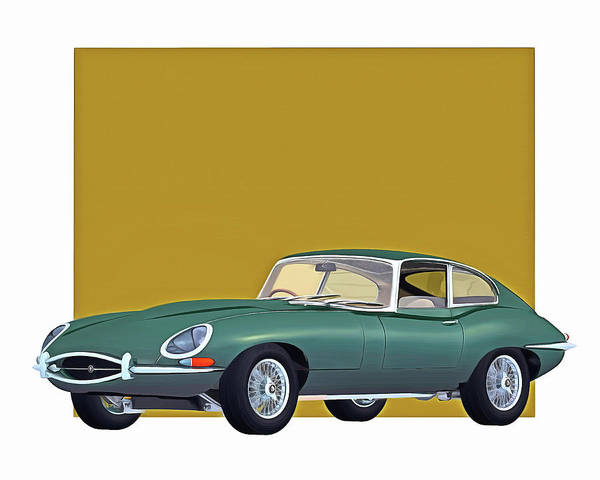 Digital Art - Jaguar E Type 1960 by Jan Keteleer