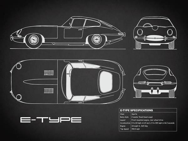 Wall Art - Photograph - Jaguar E Type Blueprint - Black by Mark Rogan