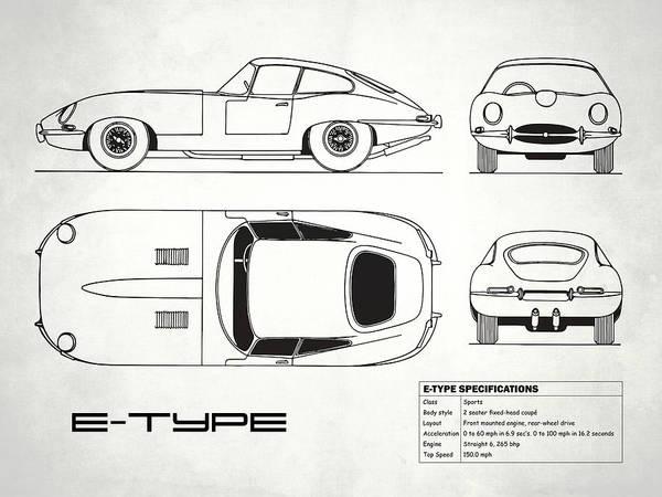 Wall Art - Photograph - Jaguar E Type Blueprint Design by Mark Rogan
