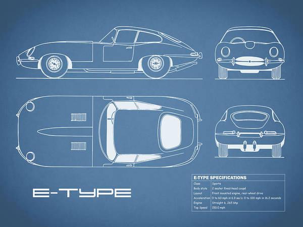Wall Art - Photograph - Jaguar E Type Blueprint by Mark Rogan