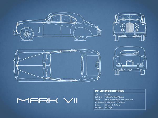 Wall Art - Photograph - Jaguar Mk Vii Blueprint by Mark Rogan