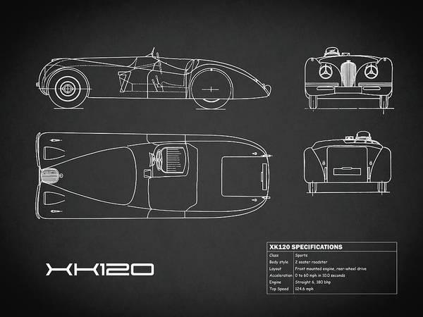 Wall Art - Photograph - Jaguar Xk 120 Blueprint - Black by Mark Rogan