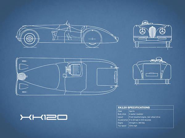 Wall Art - Photograph - Jaguar Xk 120 Blueprint by Mark Rogan