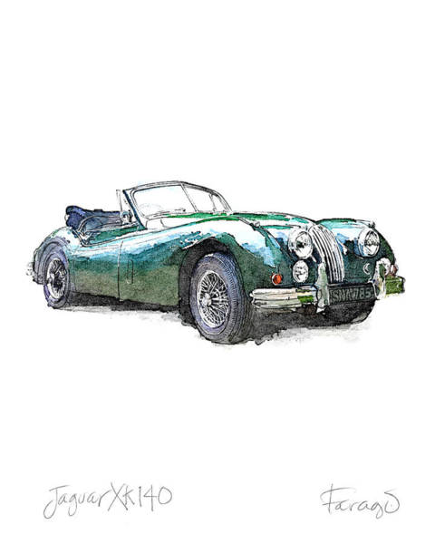 Roadster Wall Art - Drawing - Jaguar Xk140 by Peter Farago